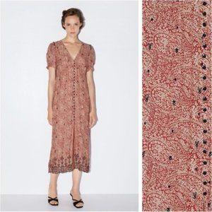 Zara Midi Dress Print Boho Embroidery Red Black XS